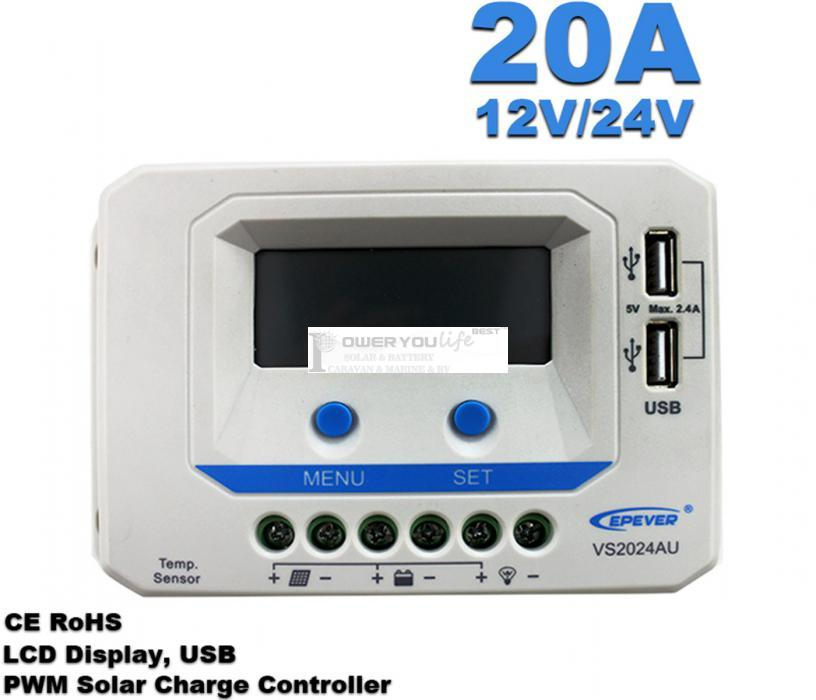 VS2024AU  20A 12V/24V solar controller positive grounding with LCD display 5VDC doubel USB output for max 50V solar panel input