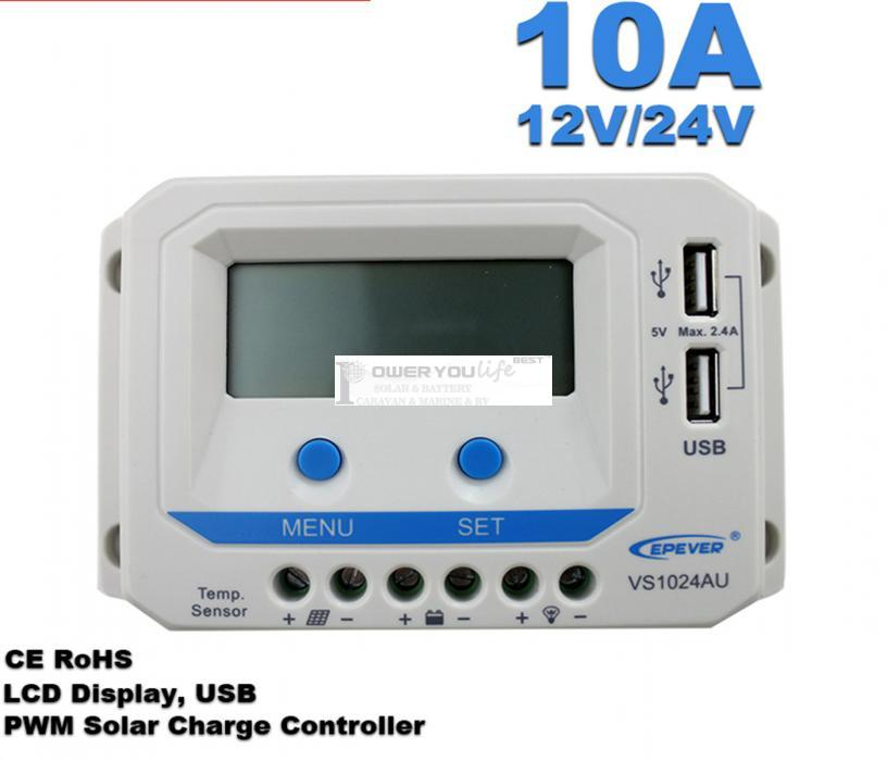 VS1024AU 10A 12V/24V solar controller positive grounding with LCD display 5VDC doubel USB output for max 50V solar panel input