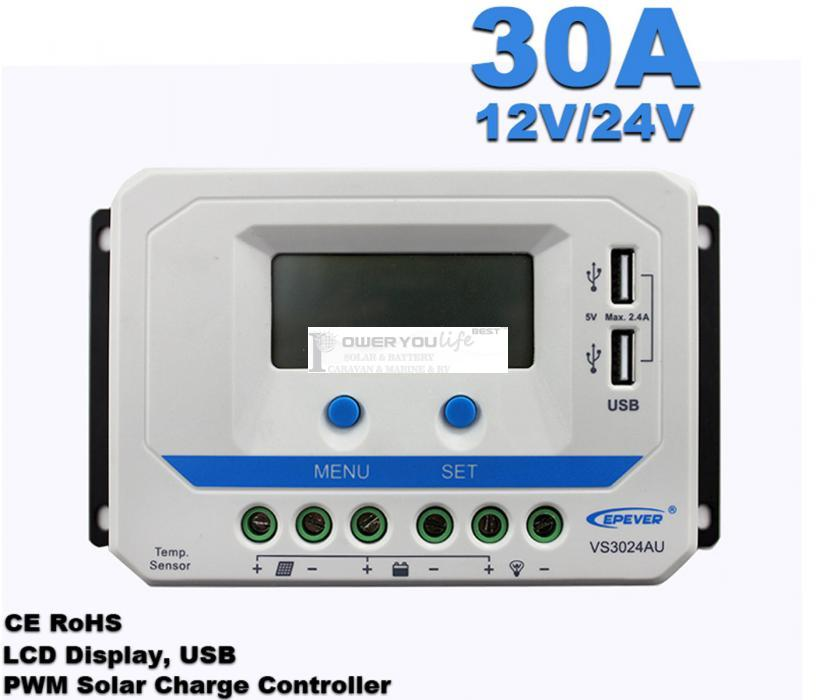VS3024AU  30A 12V/24V solar controller positive grounding with LCD display 5VDC doubel USB output for max 50V solar panel input