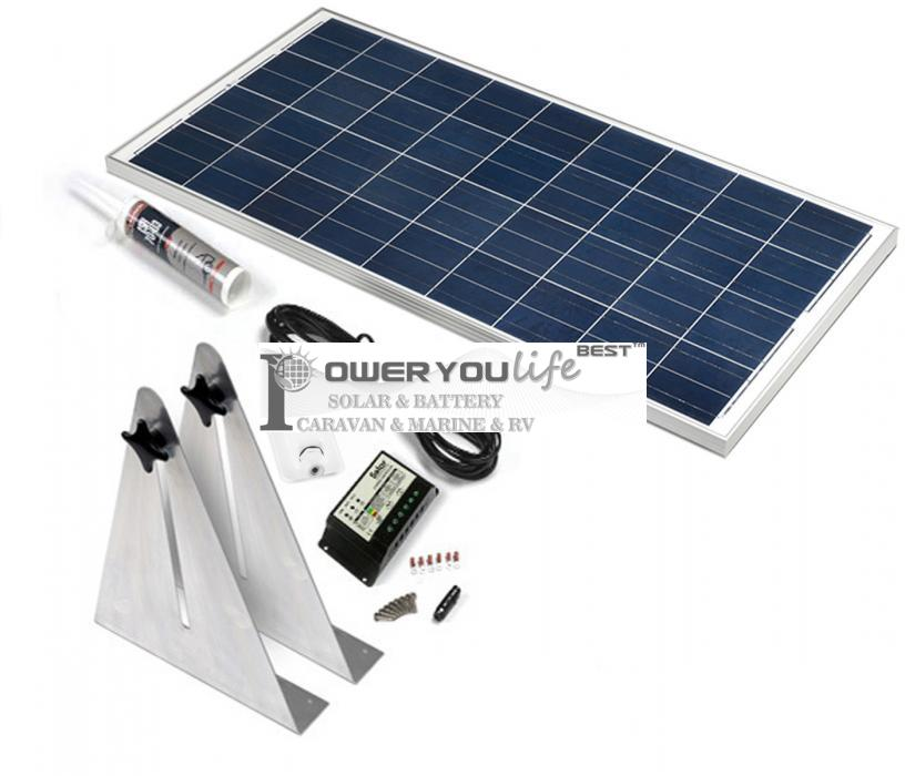 130W poly solar Narrow Boat Kit