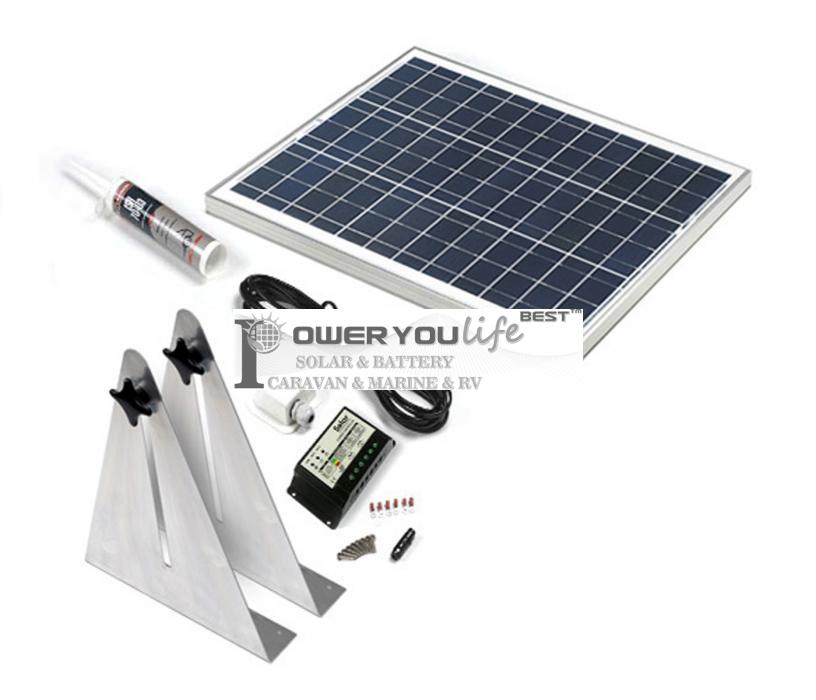 50W poly solar Narrow Boat Kit